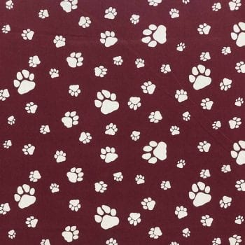 Umbrella - Paws Maroon Print